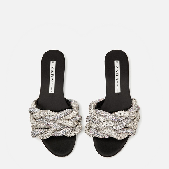 f50b6ae2859 ZARA Braided Gem Encrusted Slides Sandals
